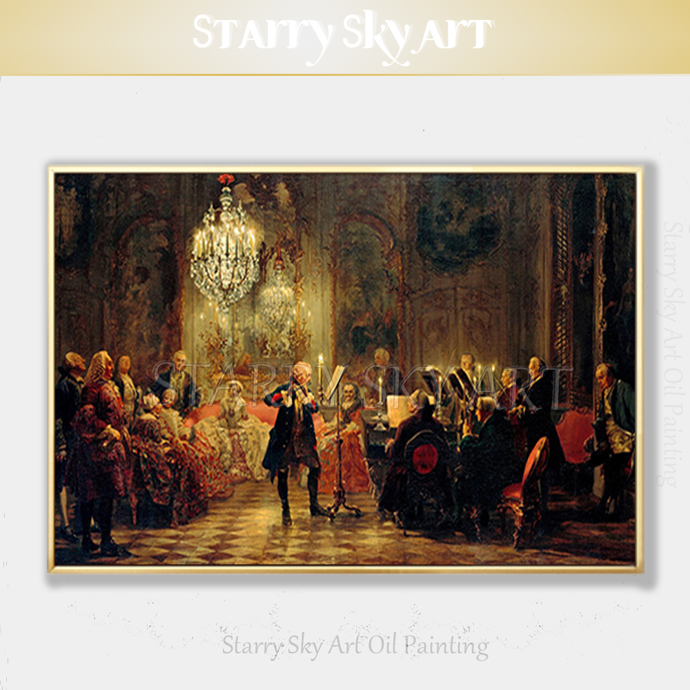 Excellent Artist Hand painted High Quality Luxury Wall Art European Nobility Playing Music Oil Painting for Villa Decoration