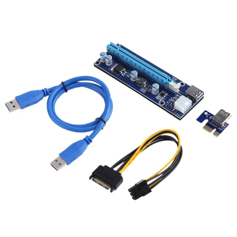 Riser Card PCI-E Express Riser Card 1x to 16x Video Card Extender Cable Adapter With 6Pin Power Cable for Bitcoin Mining