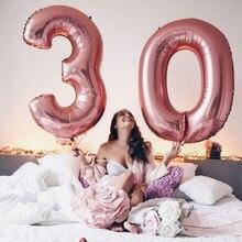 Balões laminados de alumínio para adultos, 2 peças de balão de folha de ouro rosado 30/40 polegadas 13 18 21 30 40 anos de idade e adulto materiais de decoração de festa