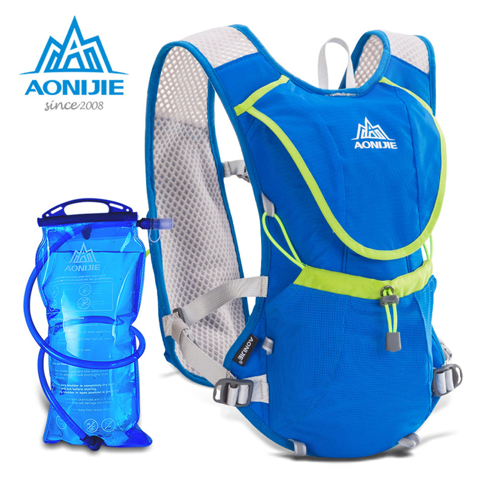 AONIJIE Marathon Hydration Bag Outdoor Running Bags Hiking Backpack Vest Cycling Bike Bicycle Backpack +1.5L Hydration Water Bag roswheel 22l ultralight cycling mountain bike bag hydration pack water backpack reflective bicycle bike hiking climbing pouch