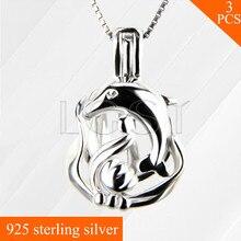 Стерлингового Серебра 925 Дельфин Ожерелье Медальон Кулон Девушки Ожерелье Кейдж Подвеска 3 шт.
