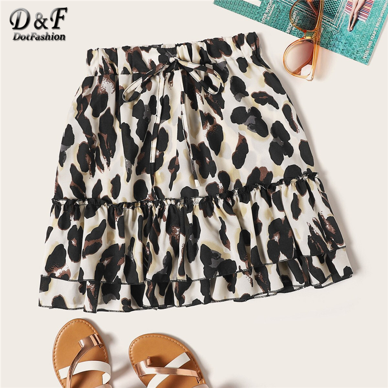 Dotfashion Leopard Print Drawstring Waist Ruffle Hem Skirt Women 2019 Boho Summer Casual Ladies Young Fashion Mid Waist Skirts