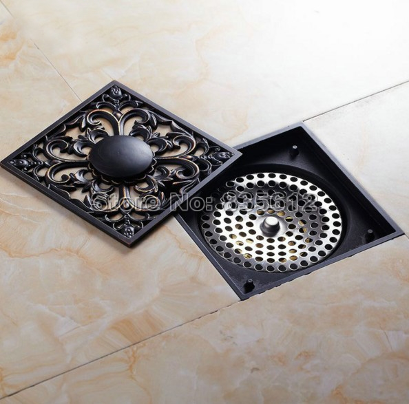 New Arrivals Black Oil Rubbed Brass Carved Art Bathroom Waste Floor Drain  Shower Drain Grate Whr030
