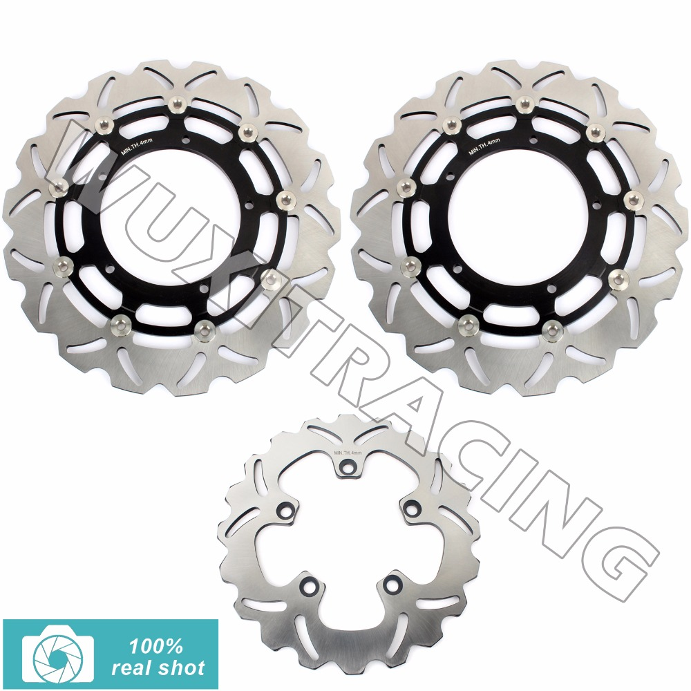 Full Set Front Rear Brake Discs Rotors for YAMAHA FZ1 N / ABS 06-14 S FZ1 FAZER / ABS 06-2014 2007 2008 2009 2010 2011 2012 2013 abs chrome front grille around trim for ford s max smax 2007 2010 2011 2012