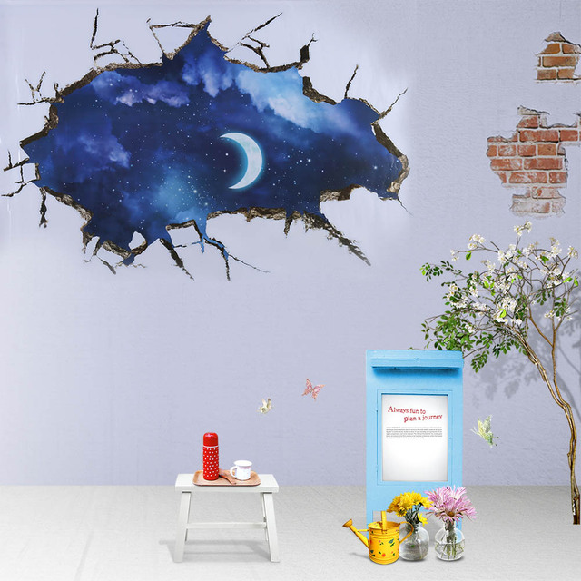60*90cm 3d crack wall sticker moon star decal stickers decal blue