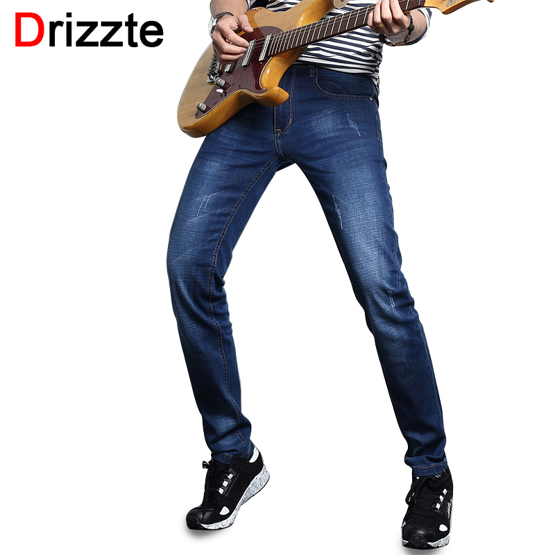 Drizzte Fashion Mens Jeans Ultrathin Stretch Blue Denim Men Slim Fit Trousers Pants for Summer Size 30 32 34 35 36 38