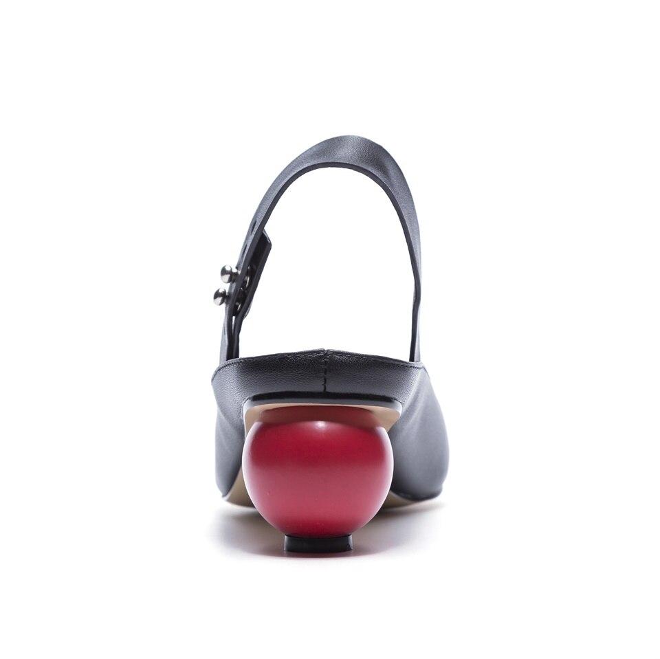De Type Conception Noir Ronde Printemps Vache Sandales Mode Qualité Haute D'été Femmes Confortable Vraie Peau Heells blanc Et Avec xwpqw1FI