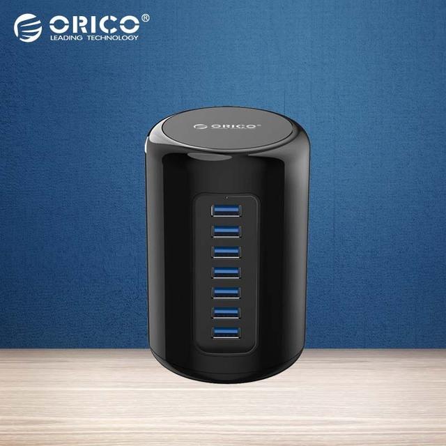 ORICO Alta velocidad Ronda Diseño Marc 7 Puertos HUB USB 3.0 con adaptador de 12 V + 1 m usb cable para mac-Negro (RH7-U3)