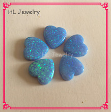 100PCS/Lot  Wholesale Price 12MM Heart Cabochon  Synthetic Opal  Stone OP06 Azure Blue Color Opal Heart Stone