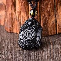 Atacado Genuine Natural Preto Obsidian Pedra Colar Amuleto Pingentes Longevidade Tartaruga Dinheiro para Mulheres Dos Homens Jóia Da Forma
