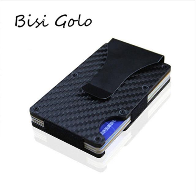 8895087a0 BISI GORO Metal Mini Clip de dinero marca 2019 fibra carbono negro plata la  tarjeta crédito ID titular con RFID Anti Jefe cartera