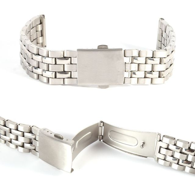 Stainless Steel Metal Strap Silver Watch Band Unisex Bracelet 18 20 22mm Watch Band Double Fold Deployment Clasp Watch Buckle | Watchbands