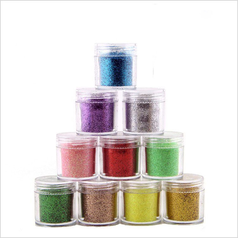 10ml bottle Shiny Nail Glitter Sequins Colorful Sparkly Laser Glitter Powder Nail Art Dust Decoration in Nail Glitter from Beauty Health
