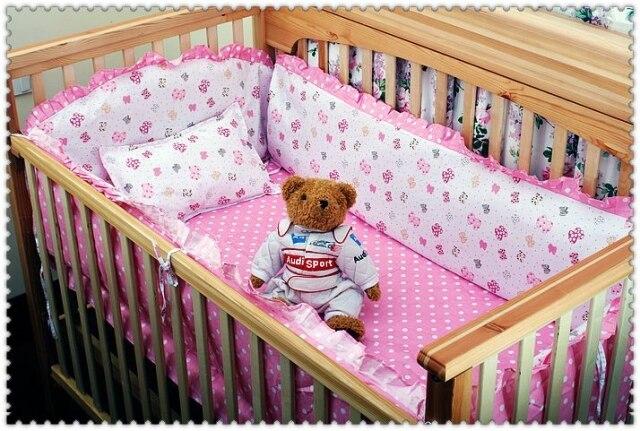 ФОТО Promotion! 6pcs Pink crib bedding set cotton baby bedding piece set unpick and wash crib set (bumpers+sheet+pillow cover)