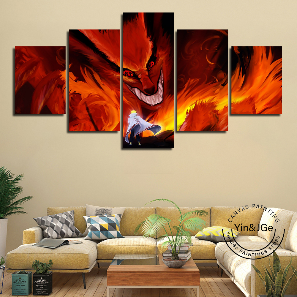 Home Decor Modular Nine Tailed Fox Abstract Pictures Canvas 5 Panel Animation Naruto Painting For Living Room Poster Frame Print image