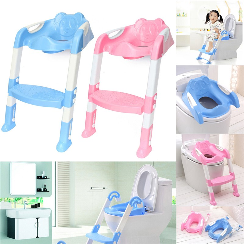 Adjustable Baby Toddler Kid Potty Seat Toilet Training Safety Ladder Chair Step Non slip Folding With Armrest Children Christmas