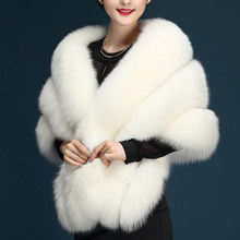 New Women Wedding Shawl Evening Party Dress Wrap Fur Shoulder Capes Bridal Jacket Coat Faux Fox Fur Slim Lady Fake Fur Cloak(China)