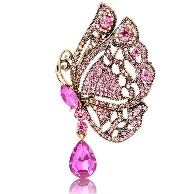 XIAOJINGLING Vintage Bronze Crystal Rhinestone Flying Butterfly Brooch Men Women Pin Bag Scarf Accessorries Ornaments Gifts