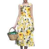 New Arrival 2016 Spring Summer Women Dress Fashion Printed Sleeveless Vest Dresses Women Summer Maxi Dress
