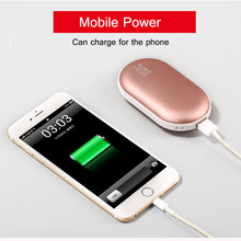 Фотография 5200mAh Power Bank External Battery Charger for Smart Phone Hand Warmer Temperature Control Pocket Powerbank for Winter Gift