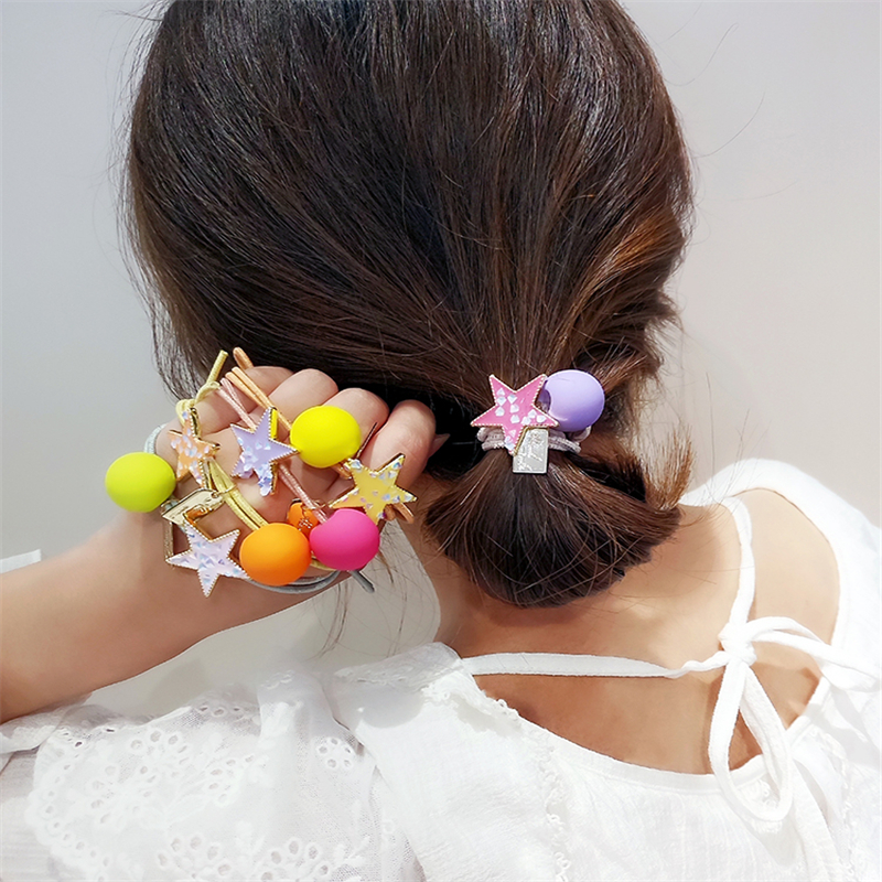 M Mism New Sweet Women Candy Color Star Elastic Hair Bands