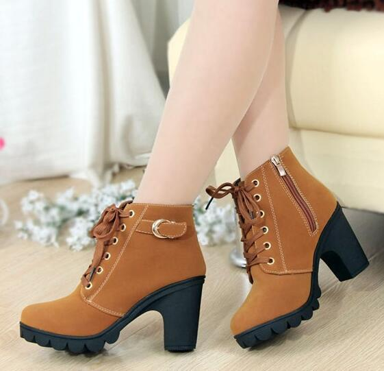 New High Quality PU Leather Women's Fashion Boots For Autumn Winter