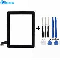 מסך מגע עבור iPad2 A1395 A1396 A1397 Netcosy מגע זכוכית לוח מגע Digitizer מסך עצרת לחצן בית עבור ipad2 & כלים