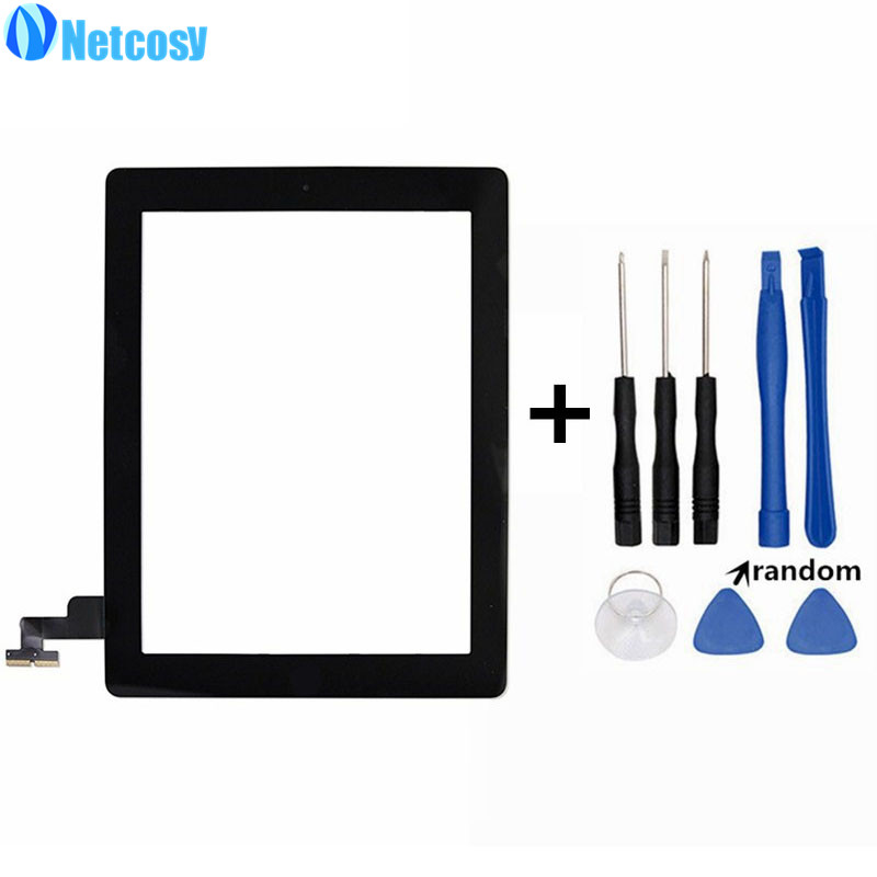 Netcosy Black White Touchscreen For ipad 2 Touch Glass Screen Digitizer Home Button Assembly For ipad 2 touch panel & Tools new touch panel for ipad air 1 ipad 5 touch screen digitizer flex cable front glass assembly adhesive with home button t0 3