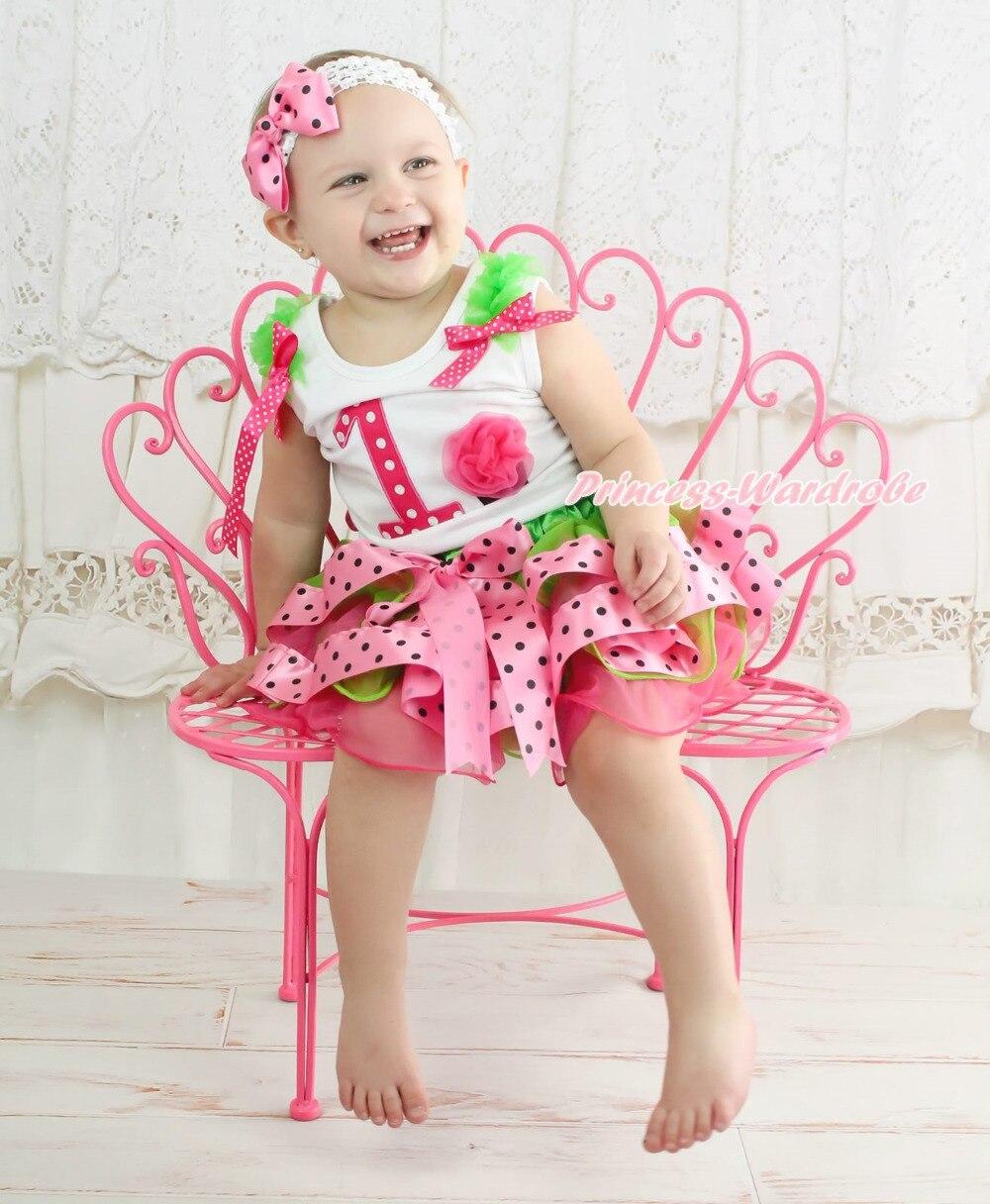 White Top Birthday 1ST Cupcake Green Pink Dot Satin Trim Skirt NB-8Year halloween orange top ruffle bow pumpkin satin trim skirt girl outfit set nb 8y mapsa0866