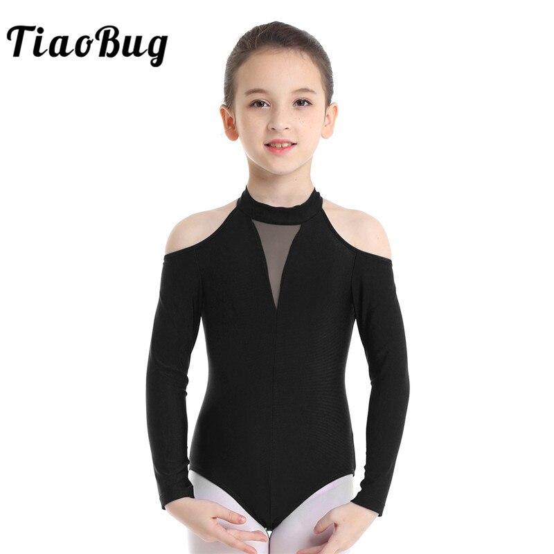TiaoBug Kids Off-shoulder Long Sleeve Cutout Ballet Leotards Girls Gymnastics Leotard Workout Bodysuit Children Dance Costume