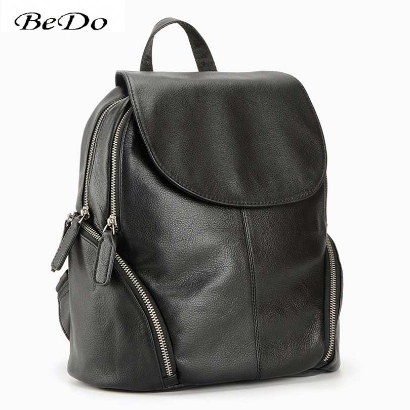 купить BeDo Real Leather Men Fashion Backpacks Genuine Leather Simple Polyester lining Backpack Black Blue Fashion Zipper Bags по цене 3959.77 рублей
