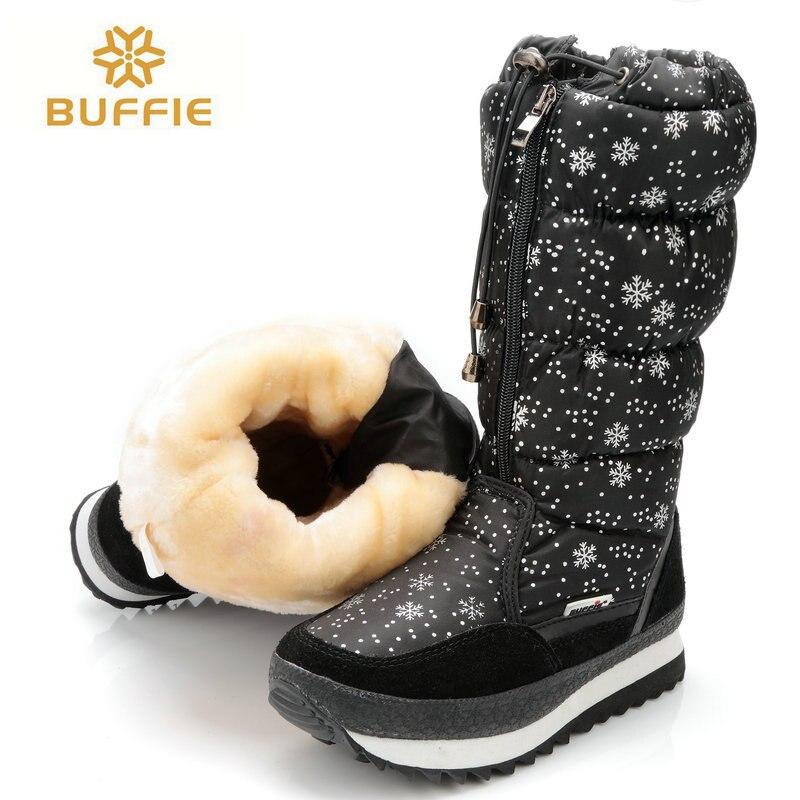 black high version winter women boots snowflake upper lace-up zipper high leg boots female snow boots big size 40 41 warm boots
