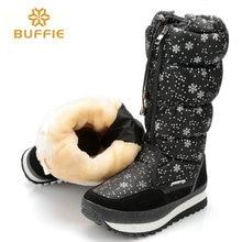 Versión en negro de alta de invierno botas de mujer superior del copo de nieve con cordones de la cremallera de alta botas de pierna botas de nieve mujer botas de gran tamaño 40 41 caliente