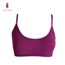 SAN.COMO 60097 Women Seamless Women Seamless Round Neck Camisoles Bralette Sexy Back Lingerie Cami Crop Top Convertible Straps