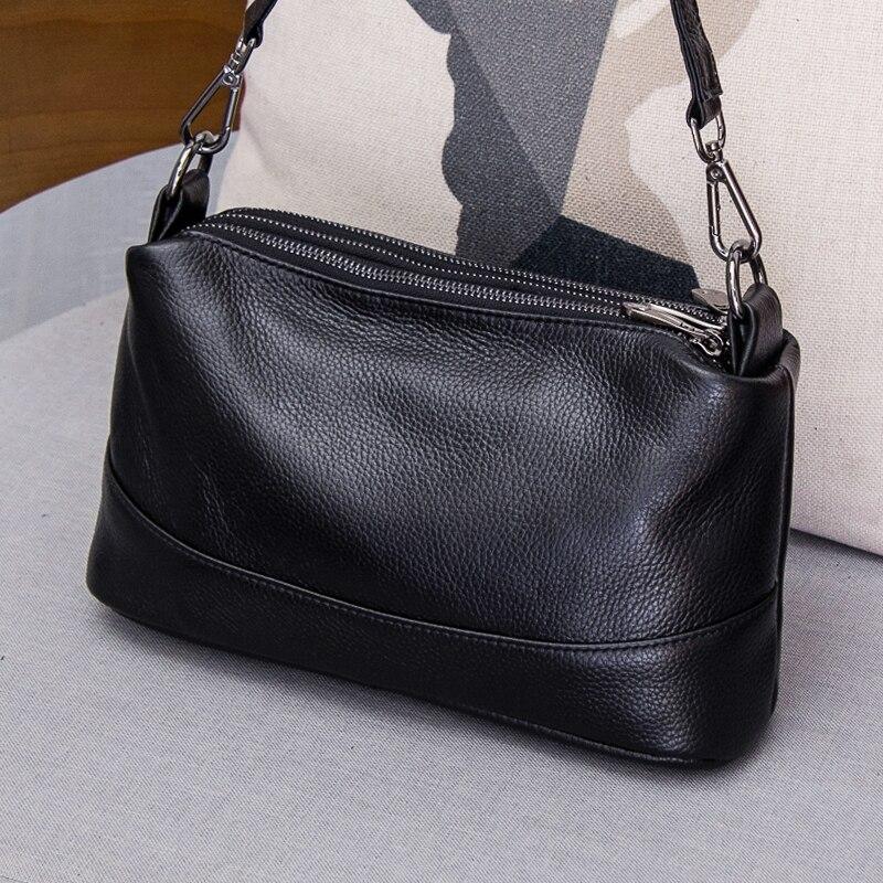 Кожа-кожа, slung, маленькая сумка женская 2018 Новая мода, многослойная, мульти-молния, одна сумка на плечо женская простая сумка через плечо