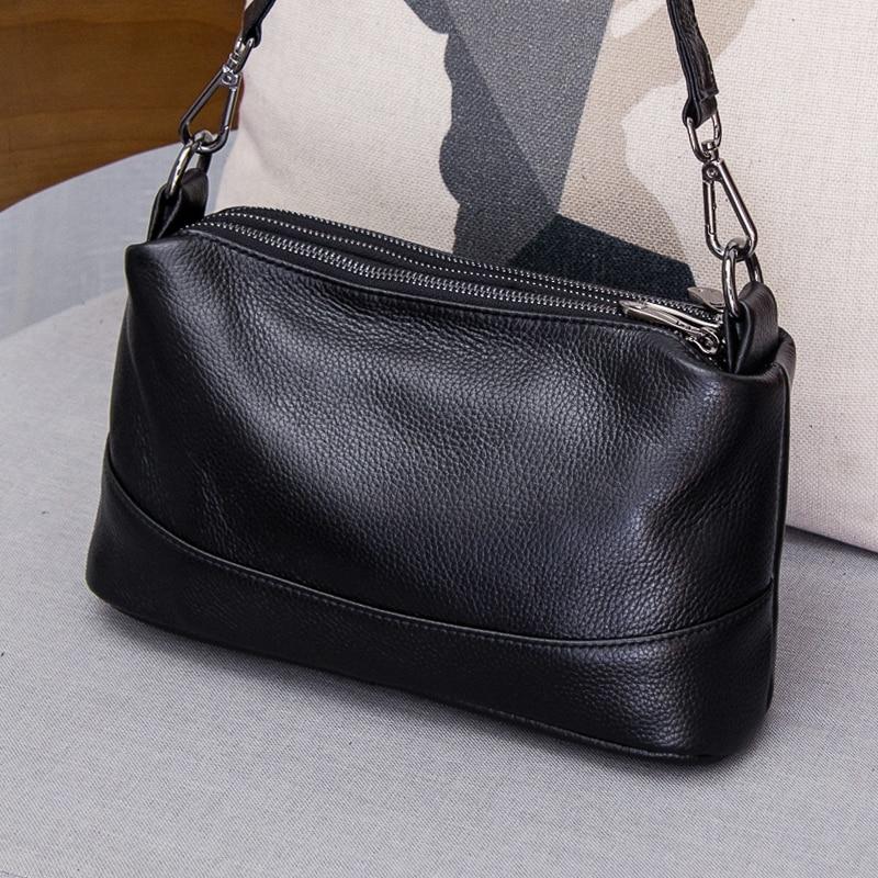 Leather-leather, slung, small bag women 2018 new fashion, multi-layer, multi-zipper, single shoulder bag women simple cross bag