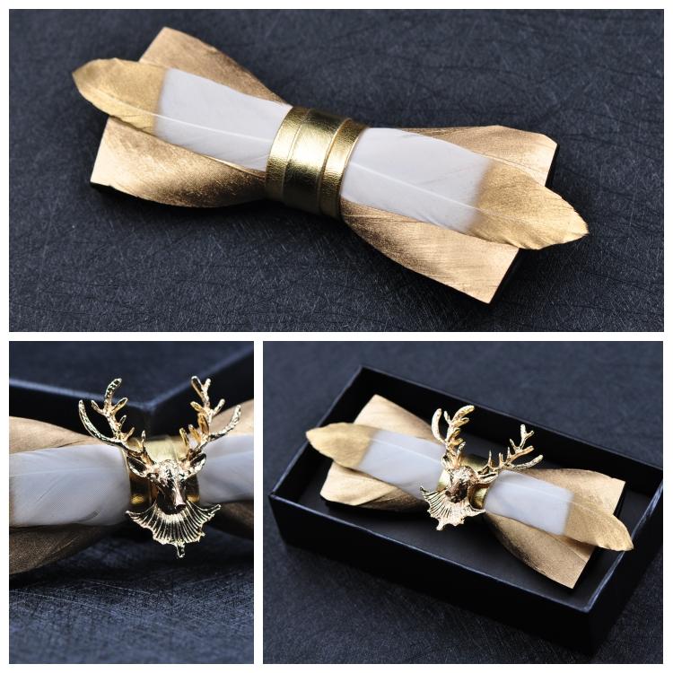 Man Free Shipping New MEN'S 2018 Golden Feather Stitching Leather Bow Gold Deer Head Man Bow Tie Groom Groom Wedding Feather