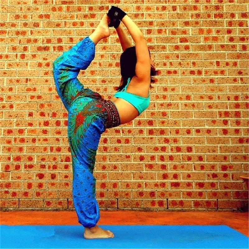 Prix pour Inde Grand Entrejambe Pantalon Large Jambe Pantalon Femmes Du Ventre De Danse De Yoga Pantalons Longs Été Plage Jouer Pantalon Style Ethnique