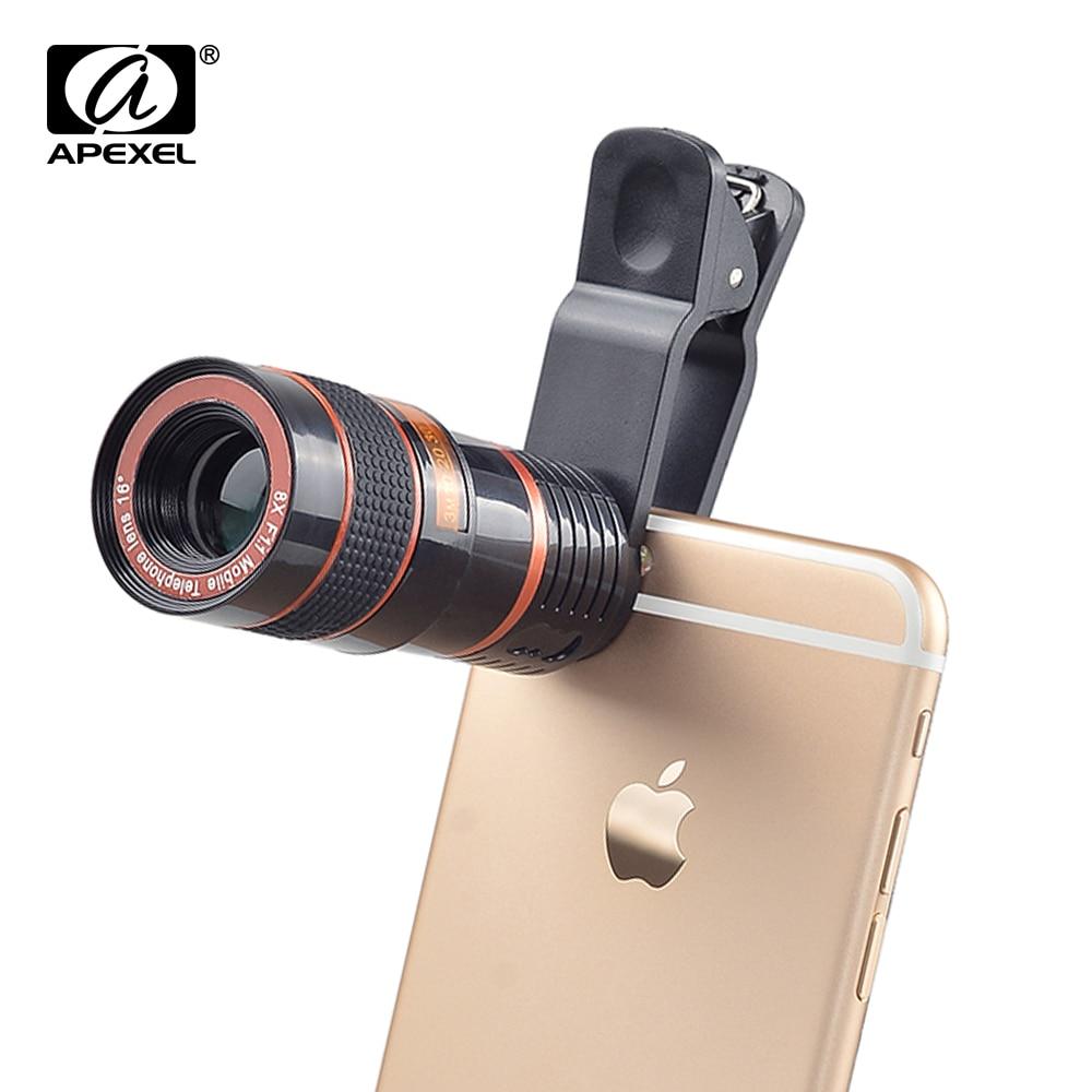 APEXEL Universal 8x Zoom Teleskop Telephoto Lensa untuk iPhone 6 S 7 HTC dan Lainnya Telepon Kamera Lensa Perlengkapan dengan klip On CL-19B-Internasional