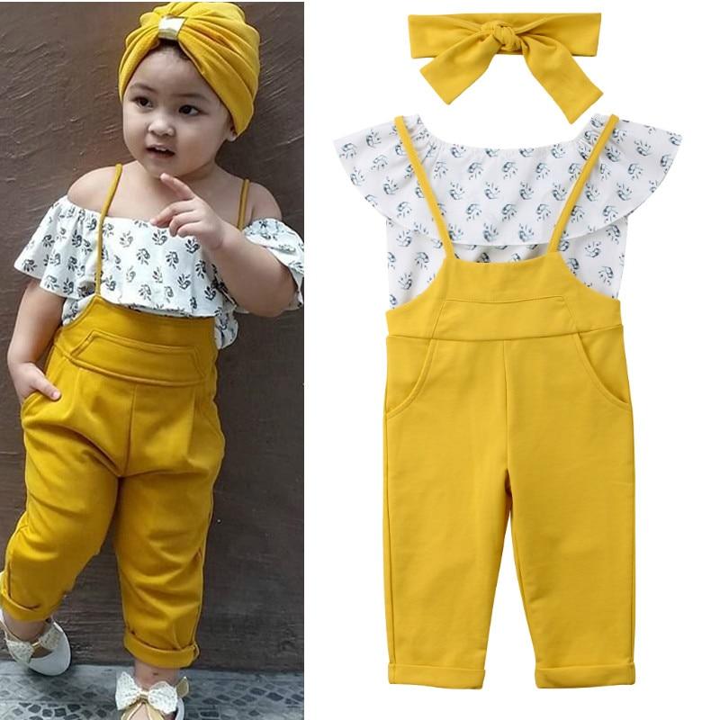 d497503695c 2019 летняя одежда для маленьких девочек с открытыми плечами короткий рукав  рубашка с бретелями длинные брюки 3 шт. комплект одежды для малень.