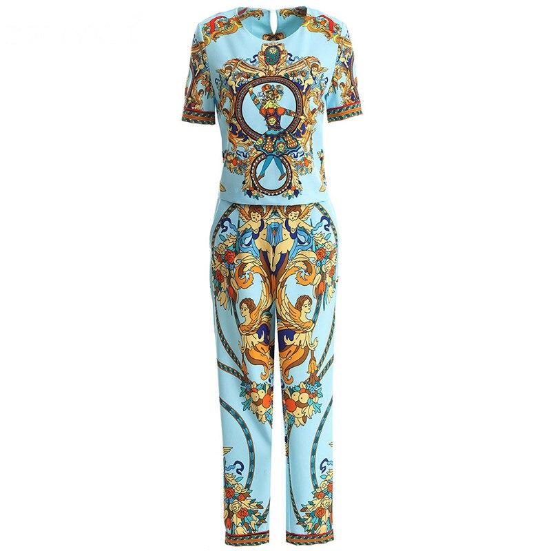 Svoryxiu แฟชั่นฤดูใบไม้ผลิฤดูร้อนสบายๆกางเกงชุดสตรี Vintage Beading Blue พิมพ์ Office Lady ชุด 2 ชิ้น-ใน ชุดสตรี จาก เสื้อผ้าสตรี บน   3