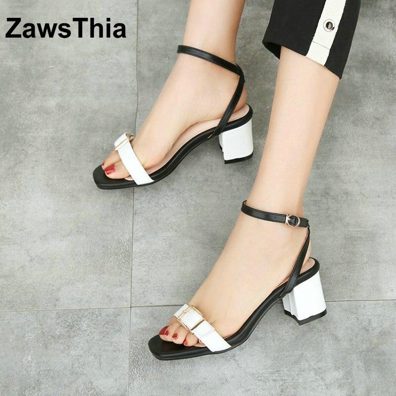 ZawsThia 2018 fashion white summer shoes for woman open toe buckle strap block high heeled sandals women female footwear 34-44