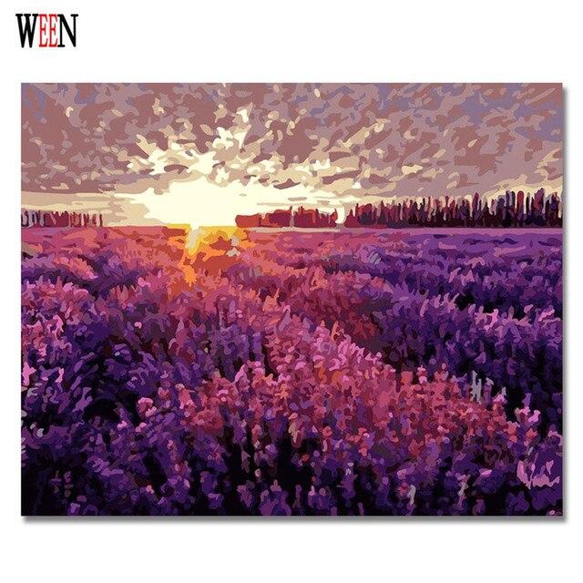 Us 635 50 Offween Digitale Lavendel Garten Bilder Zu Zeichnen Malen Nach Zahlen Leinwand Kunst Diy Handgemalte Färbung Wand Kit Für Wohnzimmer