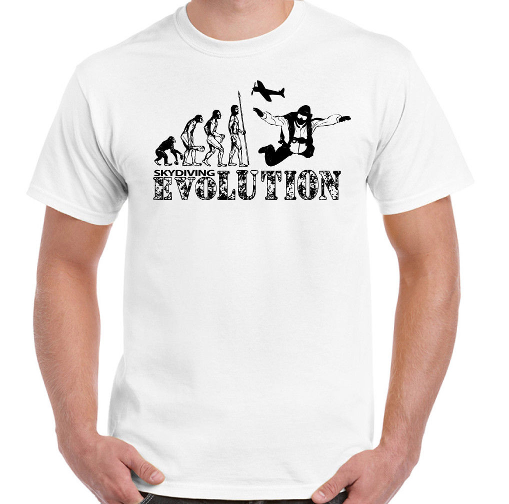 Skydiving Evolution Mens Funny Free Fall T Shirt Parachuting Skydiver Skydive New T Shirts Funny Tops Tee New Unisex Funny in T Shirts from Men 39 s Clothing