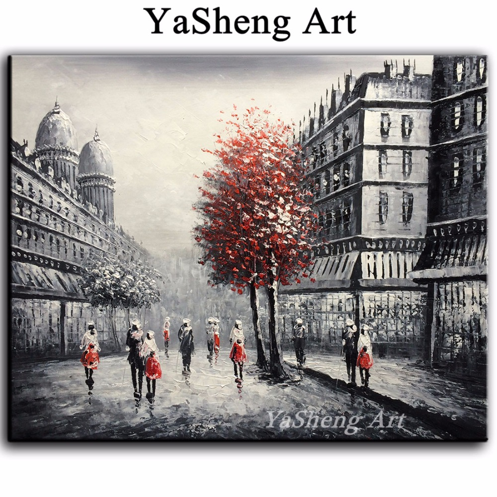 Yeni əl işlənmiş yağlı boya qara və ağ qırmızı Eyfel Paris - Ev dekoru - Fotoqrafiya 3