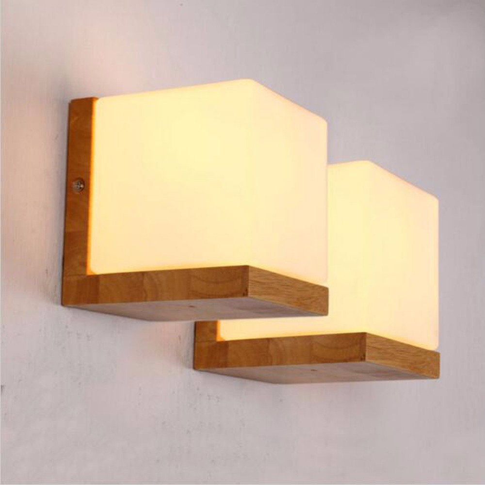 Modern brief oak wood wall lamp fashion design frosted glass wall modern brief oak wood wall lamp fashion design frosted glass wall light square sconces minilism solid wood fixtures lighting e27 in wall lamps from lights amipublicfo Images