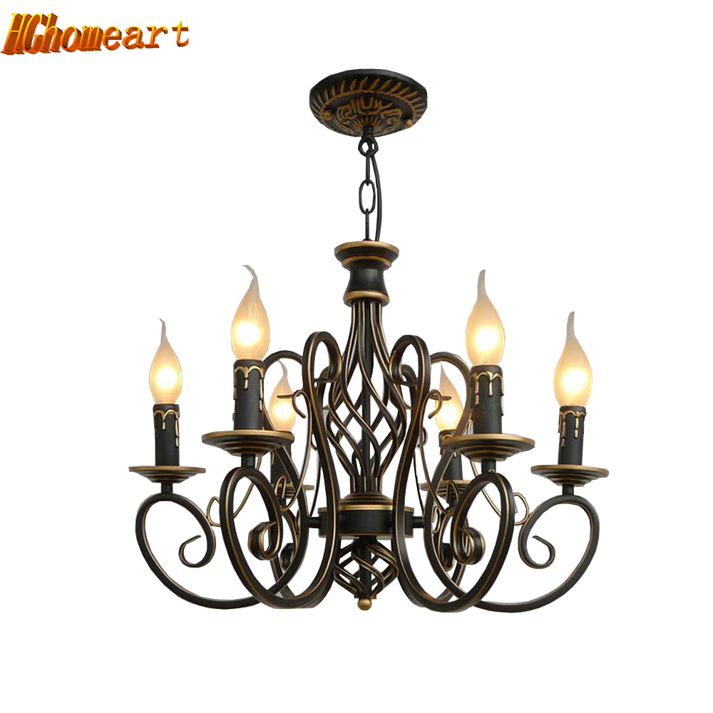Nordic Vintage E14 AC 220V 110V Wrought Iron Chandelier Loft Lamps Modern Dining Room Chinese Chandeliers
