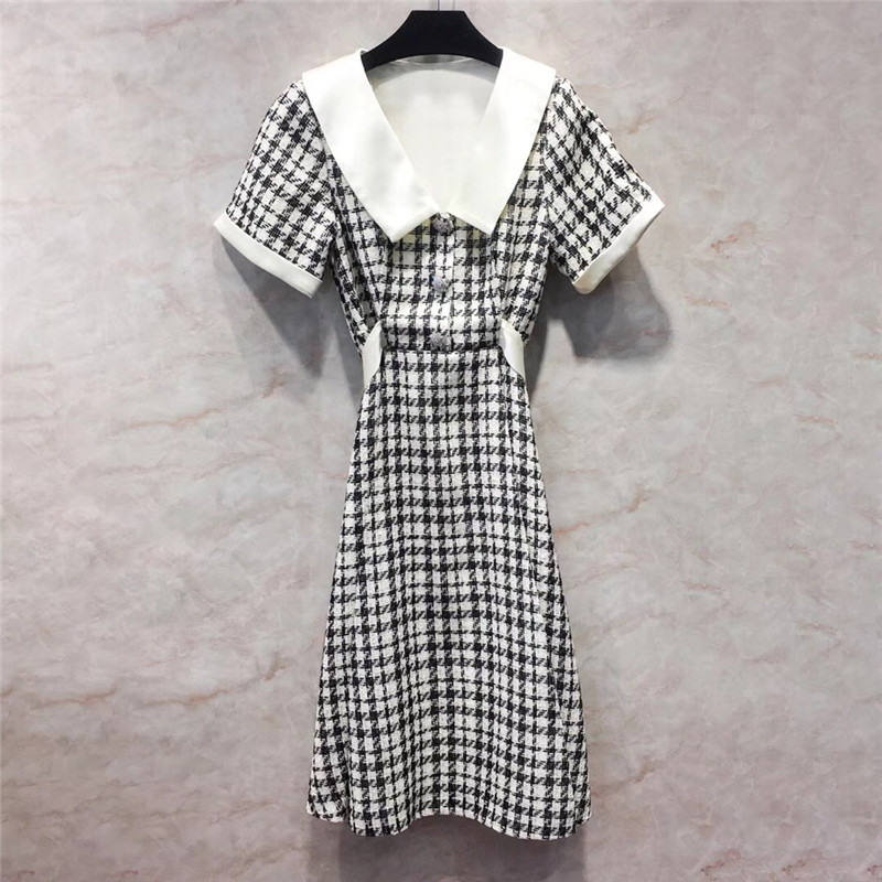 Dress Women Elegant Short Sleeve A-Line Long Dresses Summer Houndstooth Woman Dress 18 3