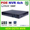 CCTV H.264 Gravador de Vídeo 4CH 1080 P NVR construído em POE RJ45 porta de rede P2P vigilância DVR