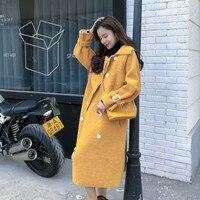 Women Plaid Long Coat Long Sleeve Woollen Overcoat Loose Outwear Female Winter Wool Coats Solid Color Plus Size Lapel Suede Coat